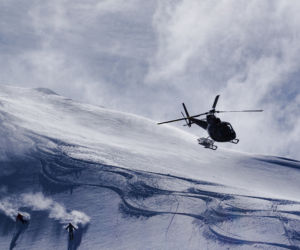 white wilderness heliskiing fly by